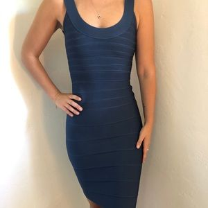Herve Leger Scoop Neck Dress in China Blue XXS